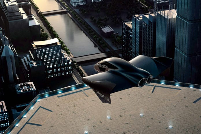 A glimpse ofpossible future eVTOL flying taxi.