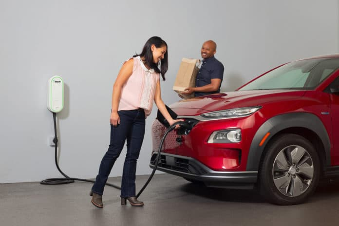First-Ever 'Electrify America Electric Vehicle Home Charger'. Credit: Electrify America