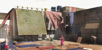 A render showing Indus installed in the courtyard of a small scale textile dying industry in India.