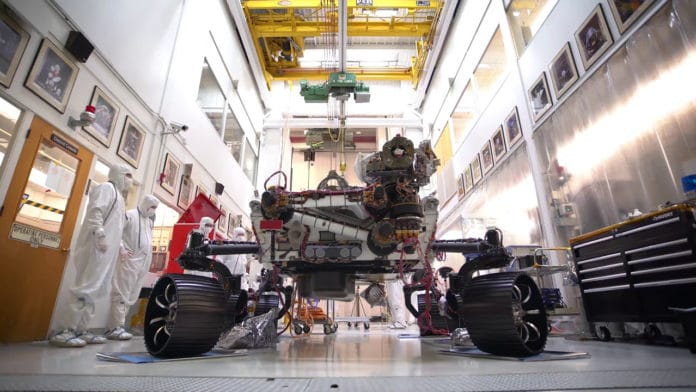 NASA's Mars 2020 rover has carried its full weight on its legs and wheels.