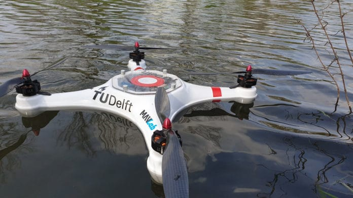 The pelican drone taking samples.