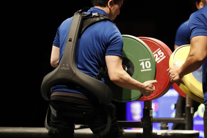 Power assist suit used at World Para Powerlifting (WPPO) Events