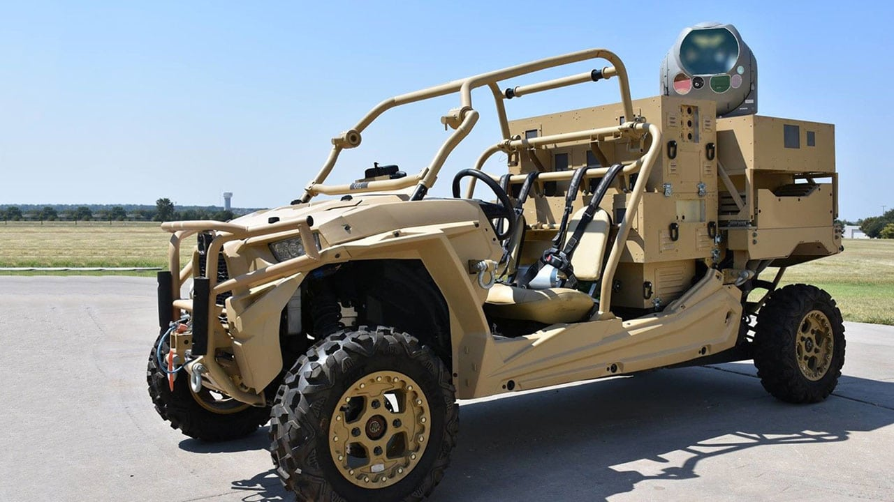 Raytheon installed its high-energy laser weapon system on a small all-terrain vehicle. Credit: Raytheon