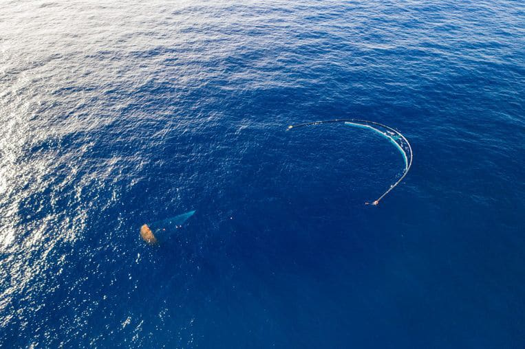 The Ocean Cleanup's U-shaped barriers.