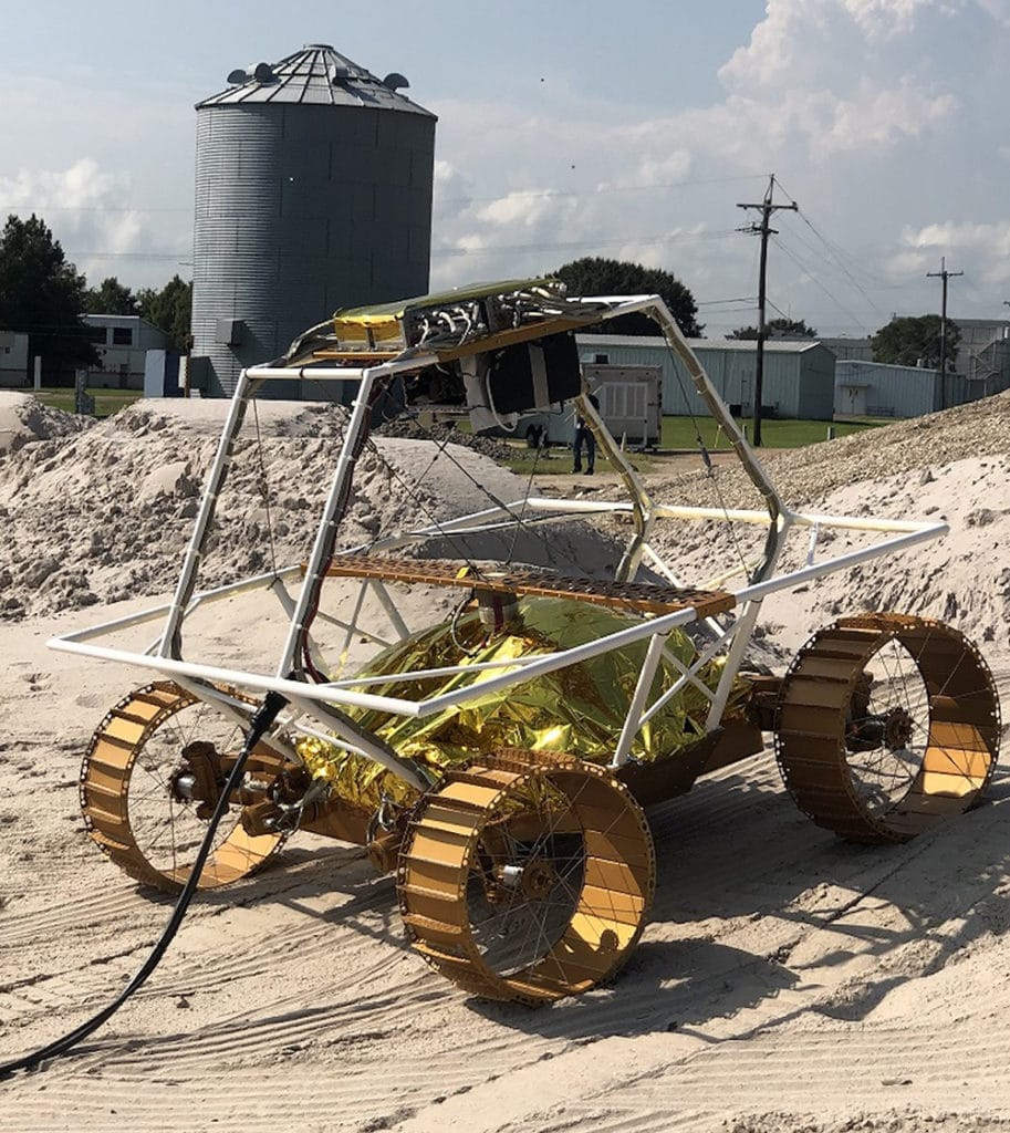 Pictured here is a VIPER mobility testbed, an engineering model created to evaluate the rover's mobility system.