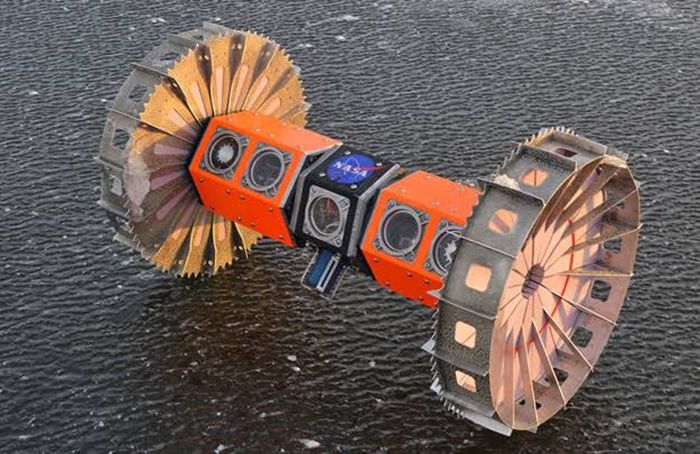 The Buoyant Rover is around three feet (1 meter) long and equipped with two wheels