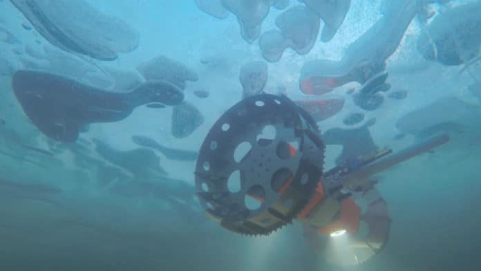 An underwater rover called BRUIE is being tested in Antarctica to look for life under the ice. Developed by engineers at NASA-JPL. Credit: NASA