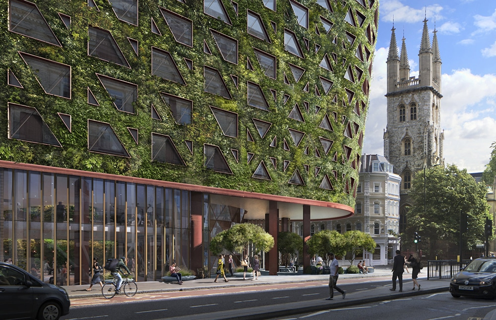 The building with the 'largest living wall in Europe' wrapped around its façade