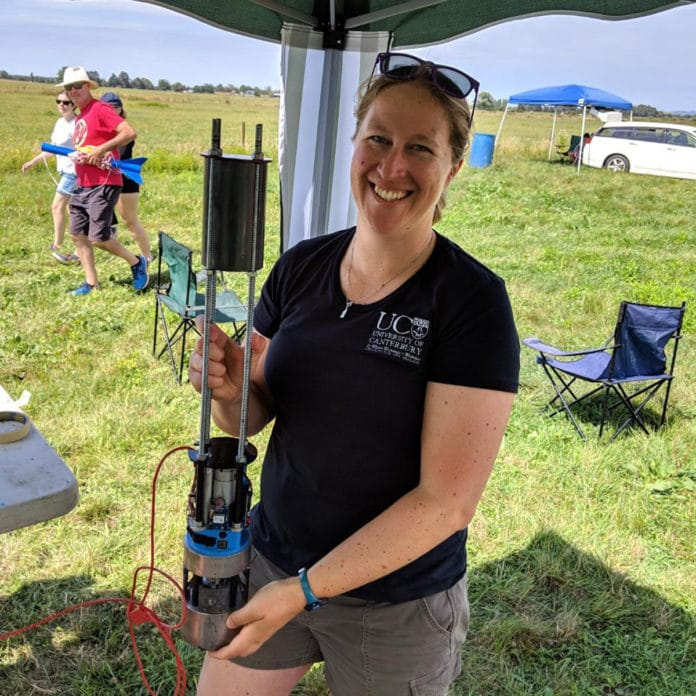 Dr Sarah Kessans with the biological payload for Into the Blue.