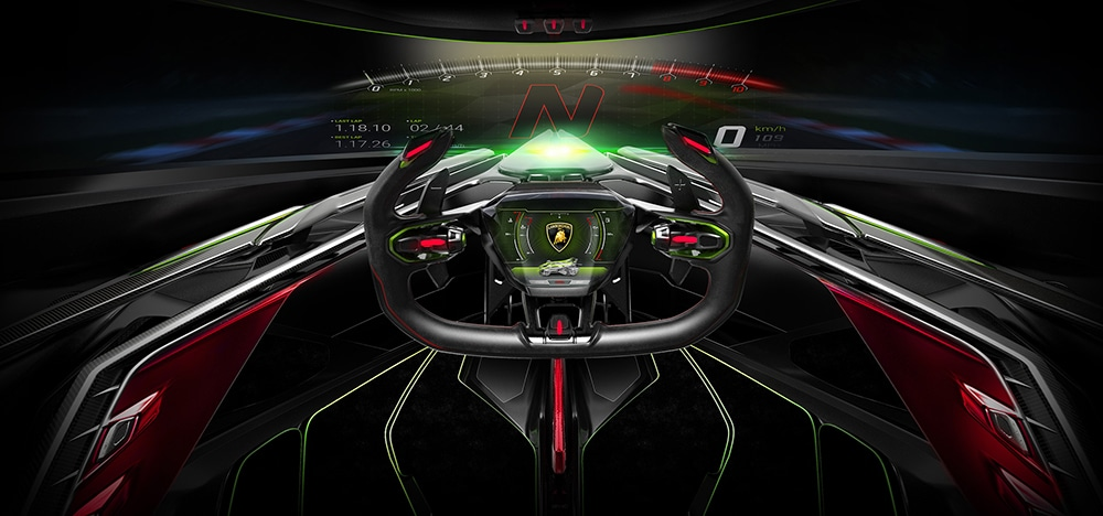 All of the main controls for driving have been placed on the futuristic steering wheel.