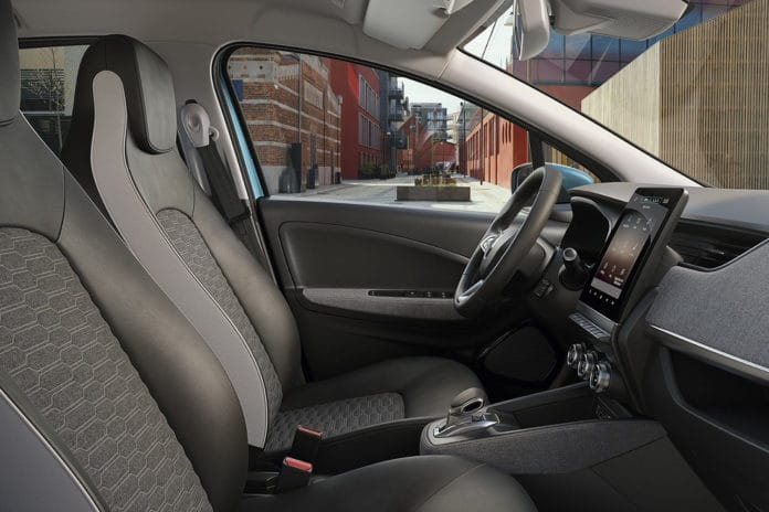 New Renault Zoé interior made of 100% recycled fabric.