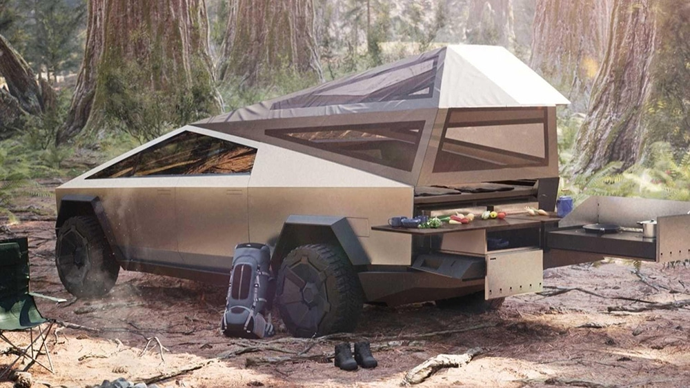 Modular attachments could turn the Cybertruck into a camping rig.