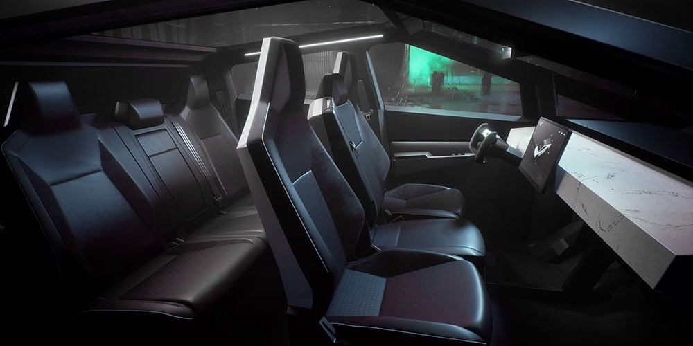 Tesla Cybertruck interior with a touchscreen for the infotainment system.