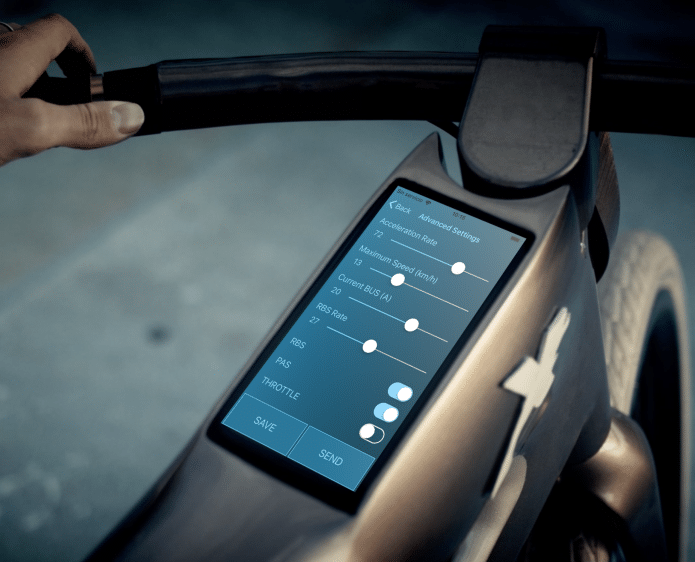 The bike has an integrated Android-powered touchscreen computer