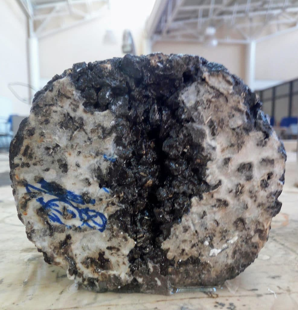 Putty formed by heating the tire rubber and other additives into one homogenous mixture.