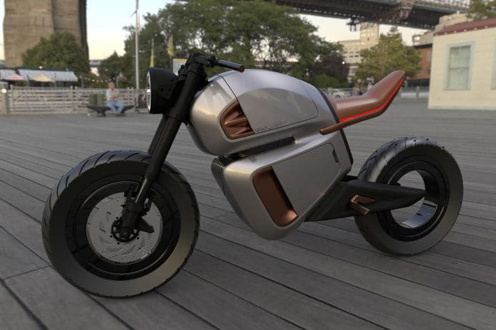 NAWA Racer is inspired by 1960s café racers but is powered by a 'hybrid' battery system.
