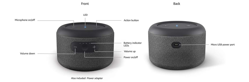 Echo Input Portable Smart Speaker  Specs