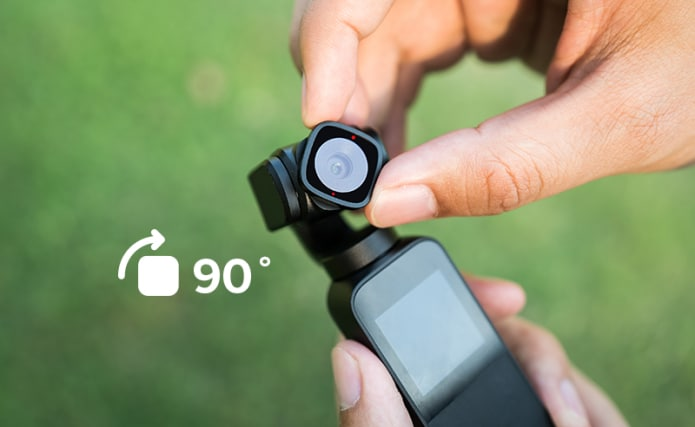 The camera head-on Vmate can rotate by 90˚.