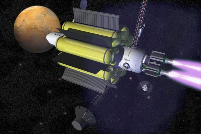 Artist's impression of several VASIMR engines propelling a craft through space.