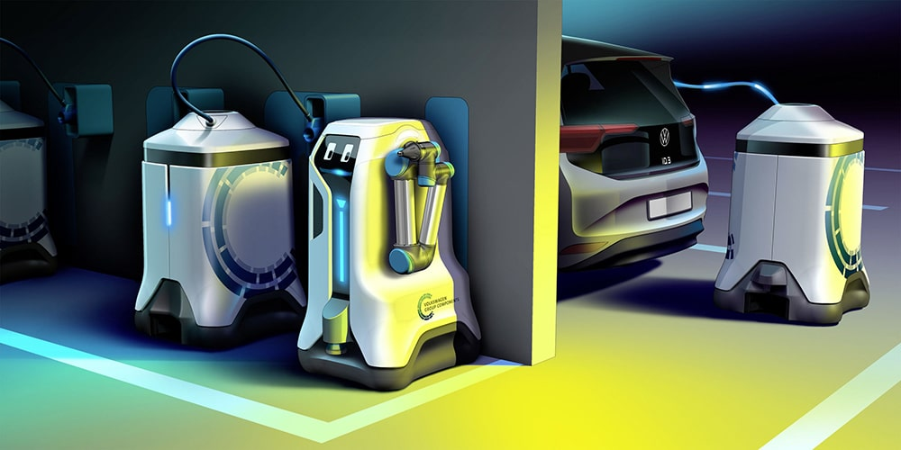 This Volkswagen robot will charge your electric car without you having to do anything.