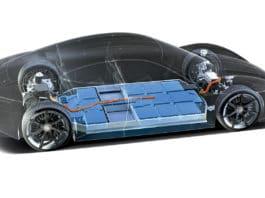 The Porsche Taycan electric car battery