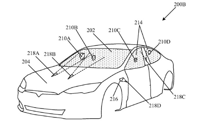 The laser projectors would be placed on the hood, bass and rear bumper of the cars.
