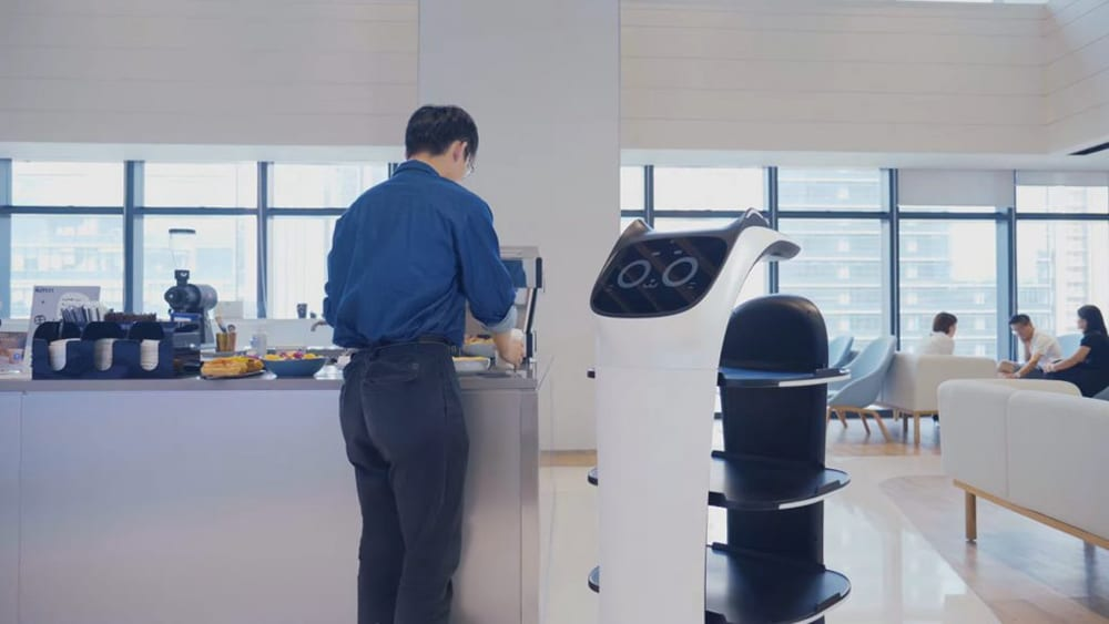 The robot is equipped with four-layer of food trays