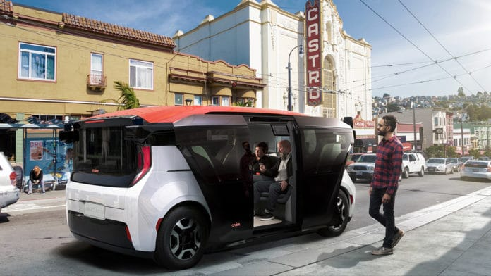 Cruise Origin, a self-driving shuttle van without steering wheel or pedals. Credit: Cruise
