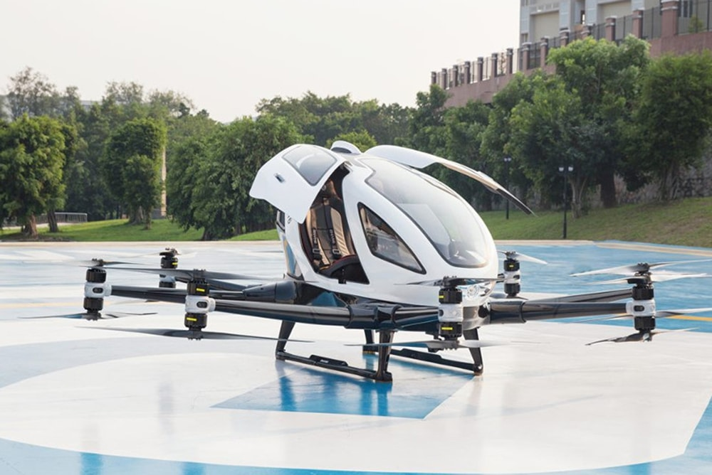 The two-seater passenger-grade AAV, EHang 216, is powered by 16 electric rotors.
