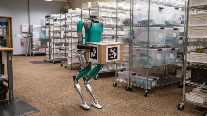 Digit, a robot with arms and legs to work with humans and in human spaces.