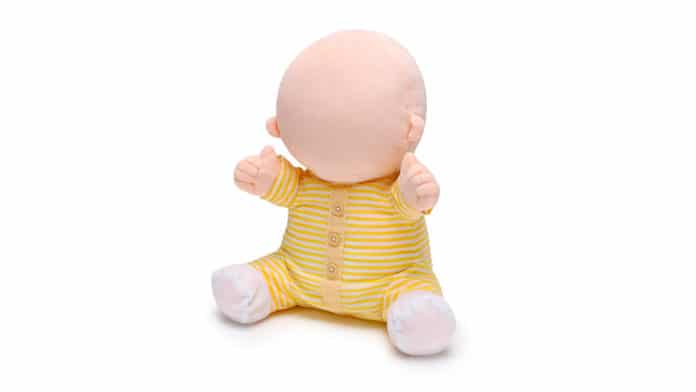 Hiro-Chan, the faceless robot baby for therapeutic purposes.