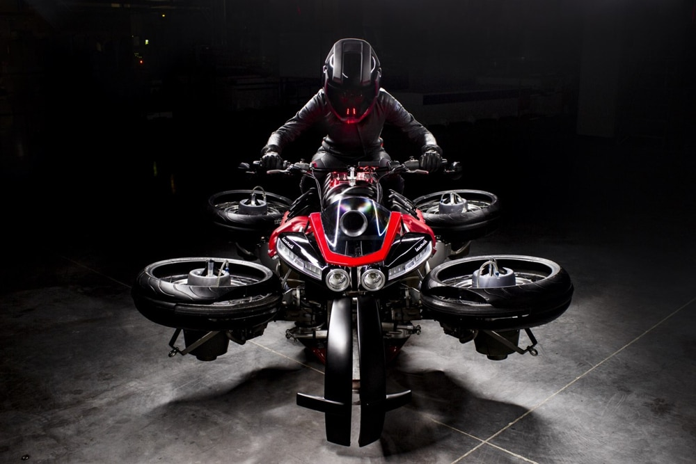 The four jet engines in the bike give a strength of about 1300 horsepower.