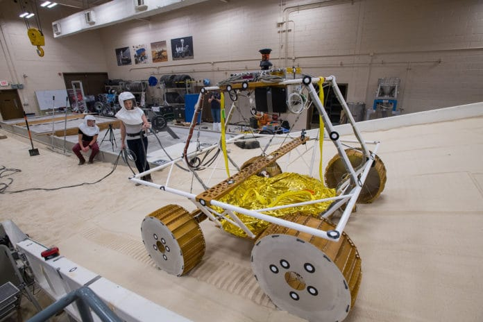 NASA's new Moon Rover tested in the Simulated Lunar Operations Laboratory.