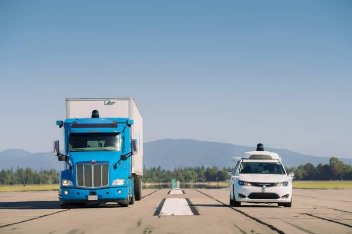 Waymo's self-driving truck and Chrysler Pacifica minivan.