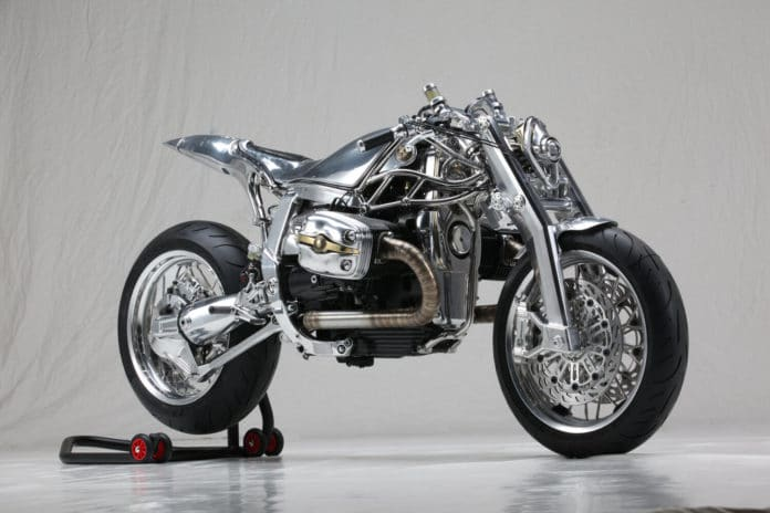 A fully modified BMW R1100S motorcycle with metal parts.