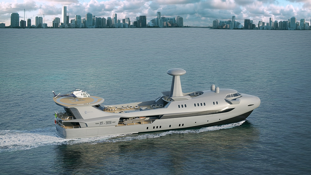 This 70 meters long Yacht transfers on a Yacht some stylistic features borrowed from aviation.
