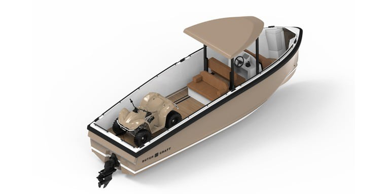 This innovative electric boat comes with a modular deck design, which has many possible uses.