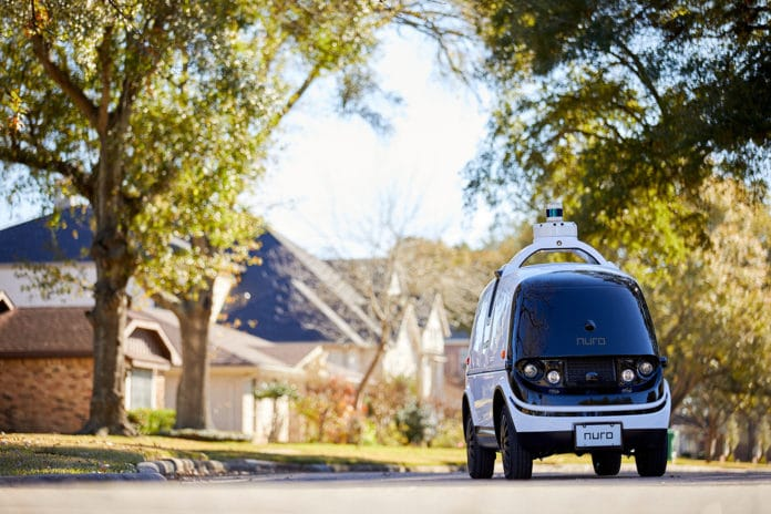 Nuro R2: a self-driving delivery vehicle, shown here in Houston, Texas.