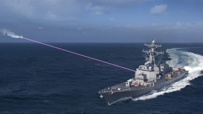The U.S. Navy deploys the first anti-drone laser system on a warship.