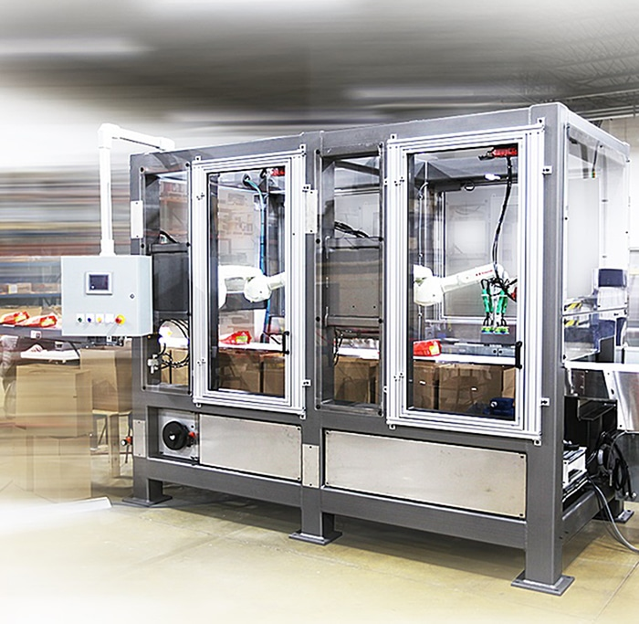 MWES robotic food product case packer machine. Credit: MWES