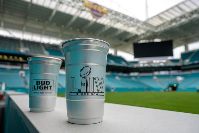 Super Bowl event replaces plastic with infinitely recyclable aluminium cups
