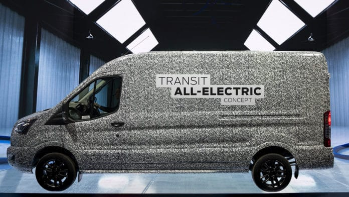Ford to offer all-electric version of its Transit cargo van.