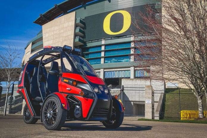 Arcimoto Rapid Responder, an electric three-wheeler designed for first responders.