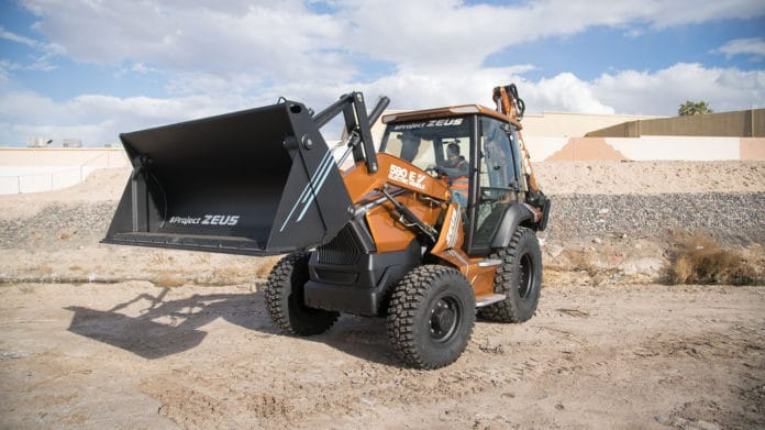 Case 580 EV, the first electric backhoe loader in the construction sector.