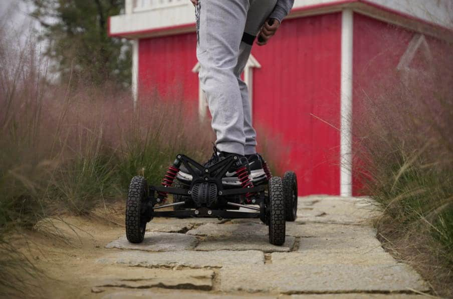 With new off-road skateboard, you can go to places where an ordinary skateboard would hardly get.
