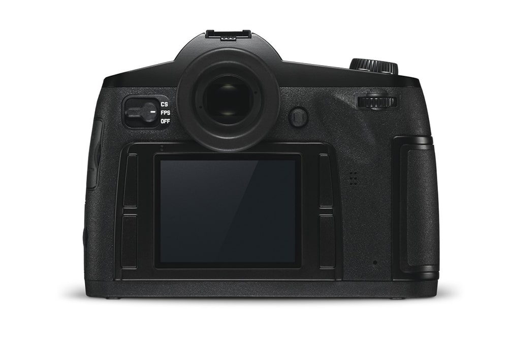 The back of the Leica S3 has a 3-inch screen protected by a Gorilla Glass.