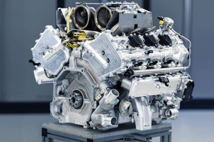 Aston Martin revealed its in-house designed V6 engine.
