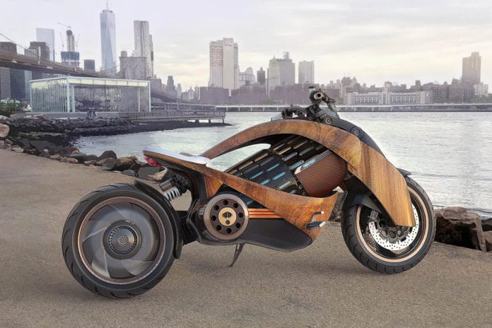 Newron EV-1 e-motorcycle with wooden body is taking pre-orders.