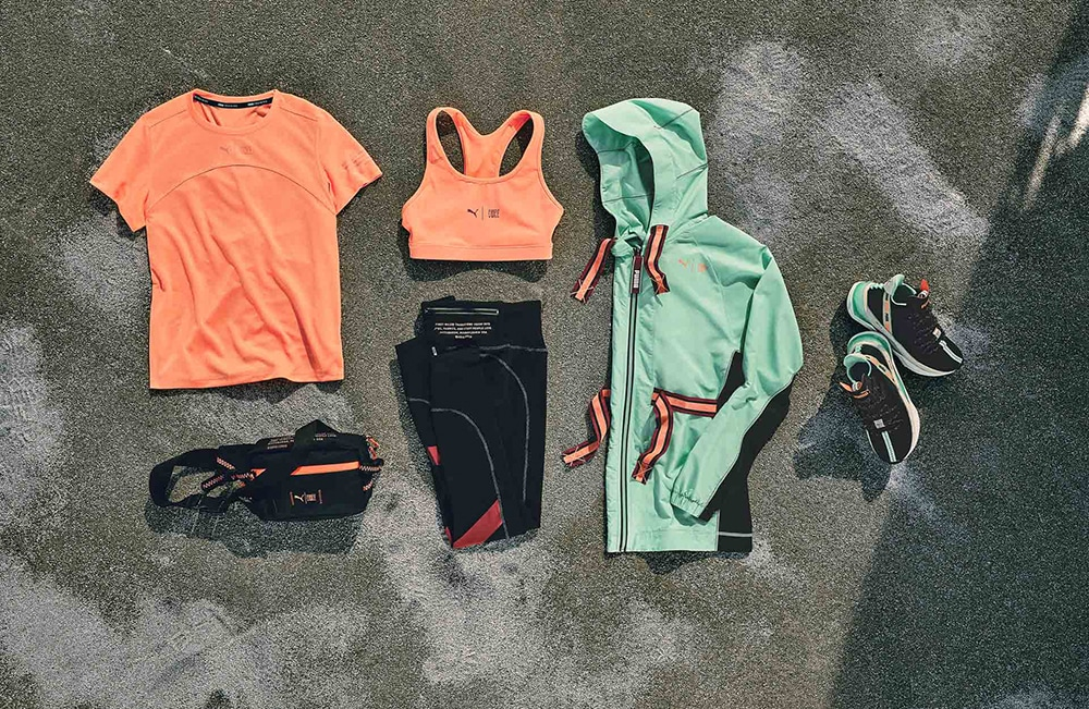 A collection of sportswear and shoes for women.