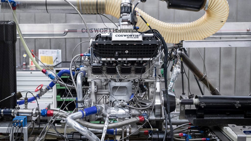A 3-cylinder test mule version of the T.50's 3.9-liter V12 engine tries out 12,100 rpm.